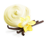 Cream,vanilla pods and orhid flower isolated on white
