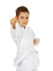 boy training karate.