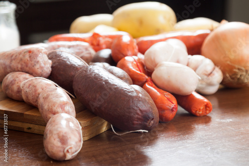several kinds of  sausage