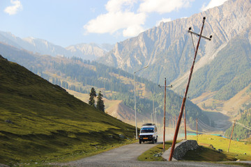 Road to valley at Sonamarg, Kashmir, India