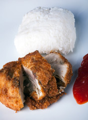 Fried Chicken with rice and chili sauce