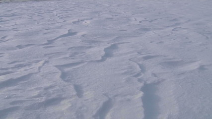 Land covered with snow. Close-up