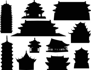 eleven isolated pagoda silhouettes