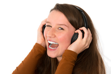 young woman listening good music