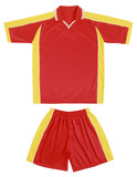 Red and yellow sports uniform