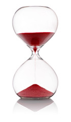 Hourglass with red sand running through