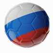 Soccer ball. Flag of Russia