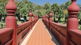 Red bridge in the park , Chiangmai Thailand
