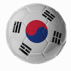 Soccer ball. Flag of South Korea