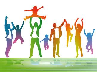 Eltern mit Kinder freuen sich