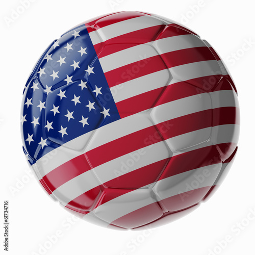 Soccer ball. Flag of United States