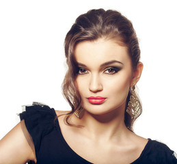 Fashion girl portrait. Evening makeup and hairstyle.