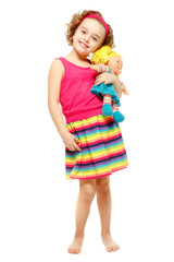 Little girl holding a doll. White background