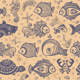 Vector fish and shells seamless