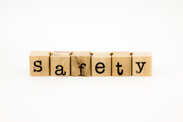 safety wording isolate on white background