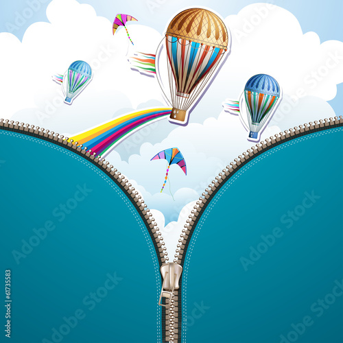 Sky background and hot air balloon with zipper