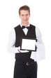 Waiter Holding Tablet Pc
