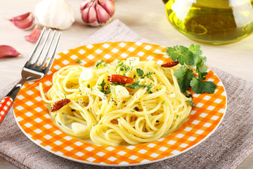 Pasta with garlic, oil and chilli