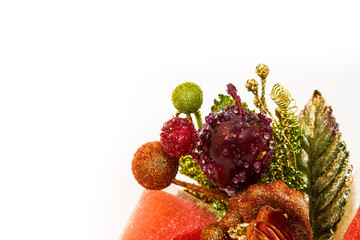 designed ribbon with fruit and flower
