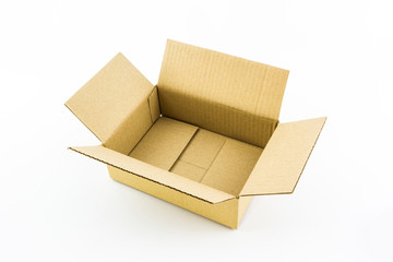 Empty opened corrugated  cardboard box