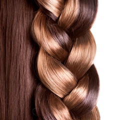 Braid Hairstyle. Brown Long Hair close up