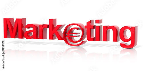 3D red marketing text with web money symbol isolated
