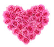 Pink roses in heart shape isolated isolated on white background