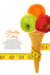 Fresh fruits on ice cream cone with tape measure