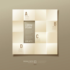 Origami sepia paper cuts square Infographic
