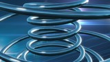 Abstract rotating chrome coil turquoise blue background
