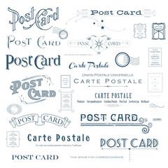 vector postcard backside design elements