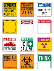 vector blank warning signs collection