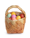 birch bark basket full of pastel colors easter eggs