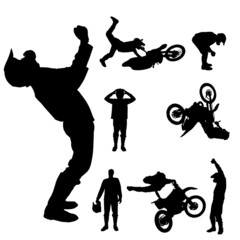 Vector silhouette of a motocross rider.