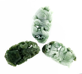 Three burma jade leo carving