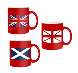 Scottish, Scotland referendum - flags on mugs, isolated on white