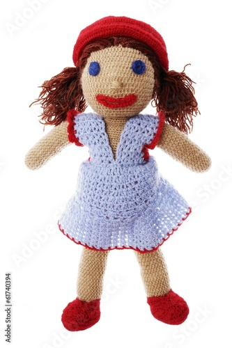 Handmade doll made with crochet-hook