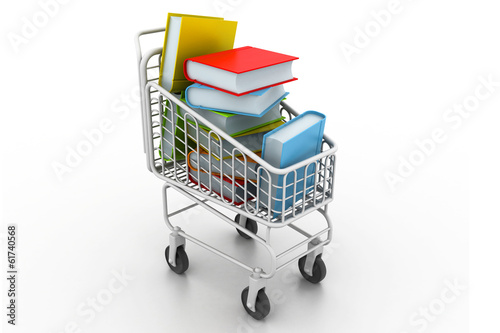 colourful books in a shopping trolley