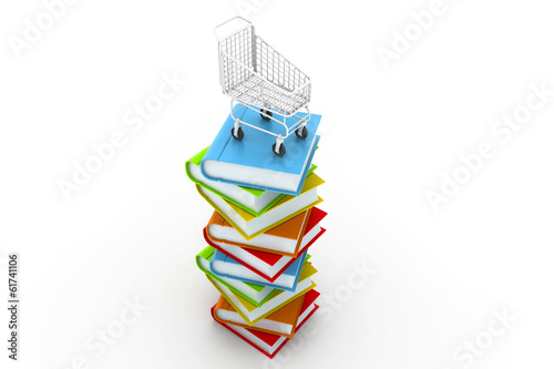 Stack of colourful  books and trolley