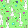 Seamless pattern of funny rabbits