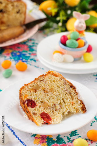 A Slice of Kulitch (Kulich), Russian Easter Sweet Bread