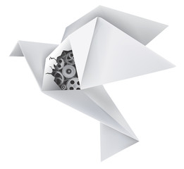 Origami mechanical pigeon