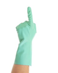 Hand shows one in rubber glove.