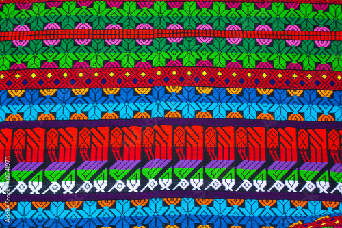 Mayan ornament on a blanket at Chichicastenango market Guatemala - 61741973