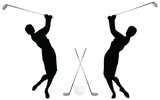Golf Player Silhouette on white background