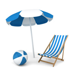 Beach umbrella, chair and ball