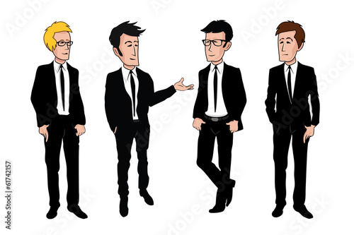 Businessman team discussing drawing cartoon vector