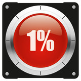 1 percent, modern glossy red icon