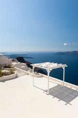 Terrace with Sunshade on Santorini Greece