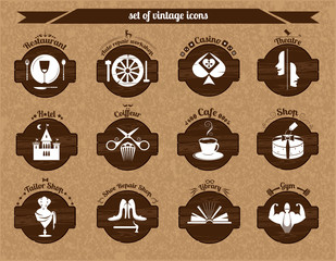Set of vintage icons